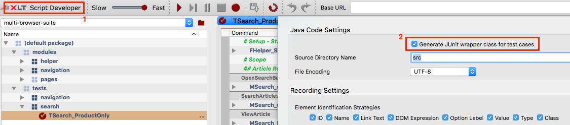 Click XLT Script Developer button and tick the checkbox Generate Unit wrapper class for test cases.