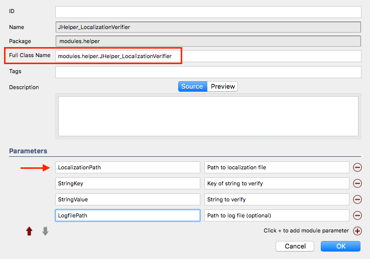 Specifying module name and location as well as it's parameters.