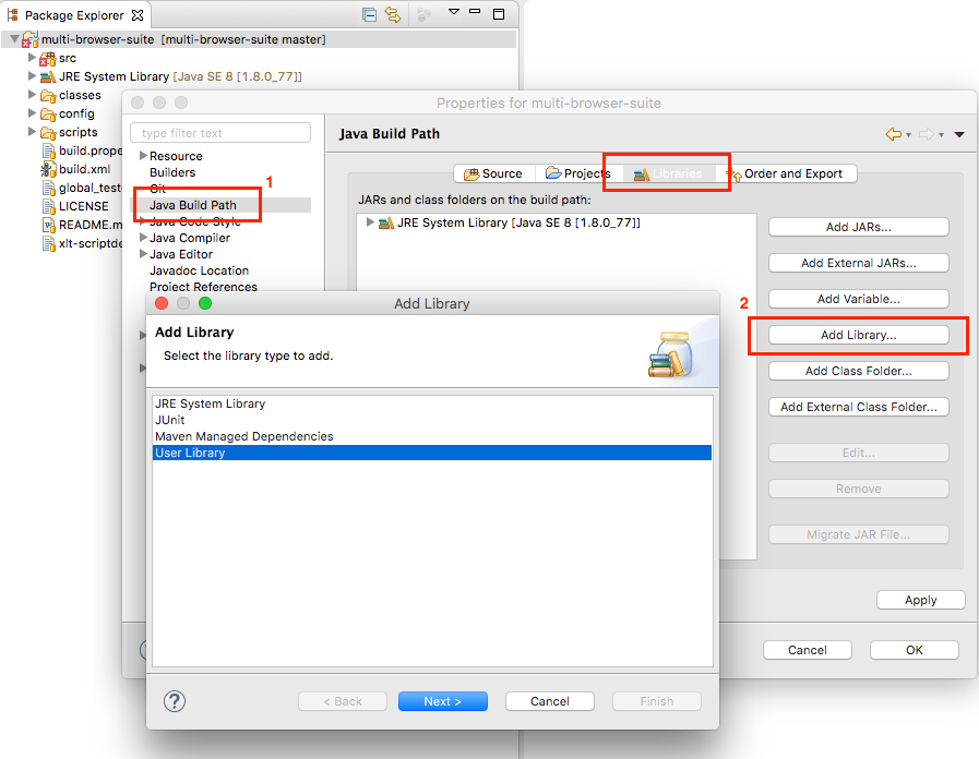 Select the project's Properties > Java Build Path > Add Library > User Library and add a library called xlt.