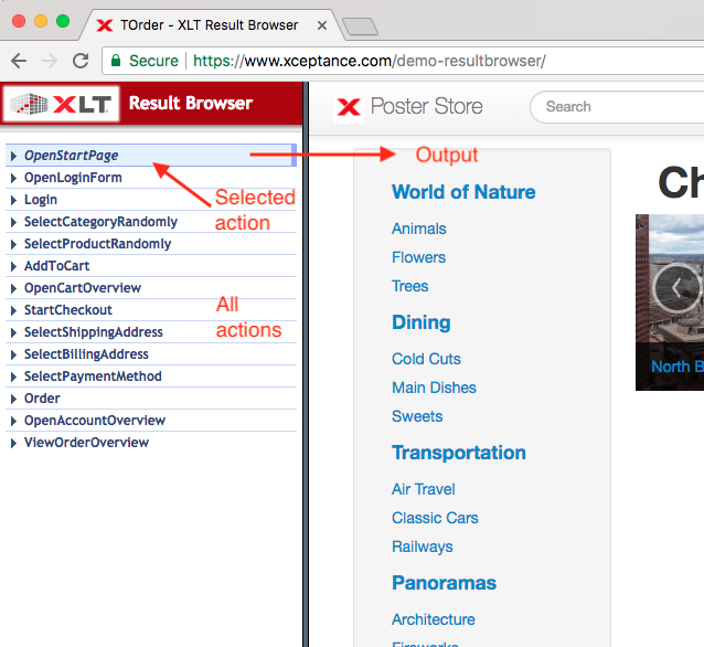 Result Browser Actions