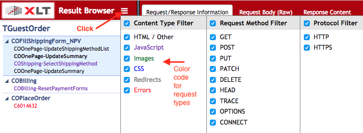Result Browser Color Coding and Filters