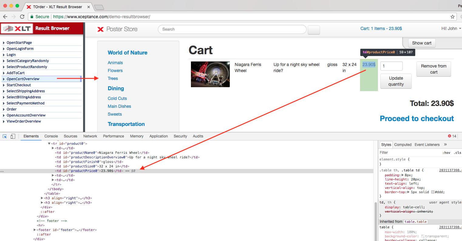 Result Browser Element Inspection