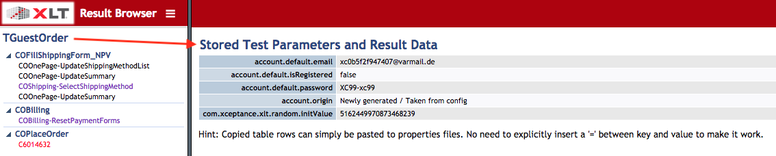 Result Browser Test  Case Information and Parameters